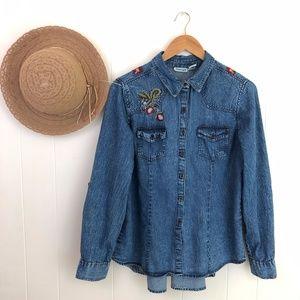 Nostalgia Retro Floral Embroidered Shirt Jacket